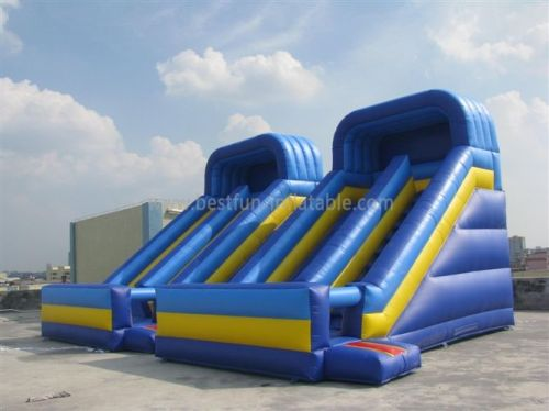 Blue Inflatable Double Water Slide Bouncer