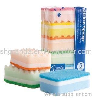 colorful wave shape sponge kitchen cleaning sponge valure pack sponge
