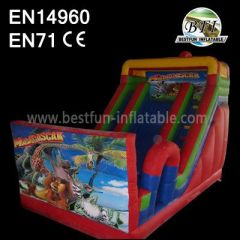 Red Inflatable Madagasca Cartoon Slides
