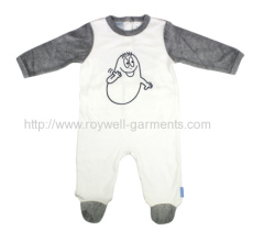 soft White and grey with Barbapapa pattern babyjumpsuit
