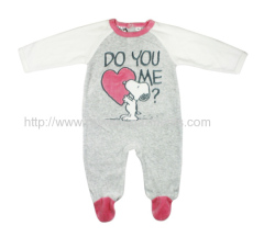 80/20 CVC 240GSM velour with softer hand feel baby jumpsuit