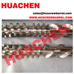 Parallel bimetallic twin screws