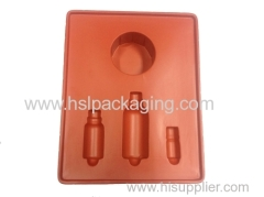 Cosmetic flocking tray for different products