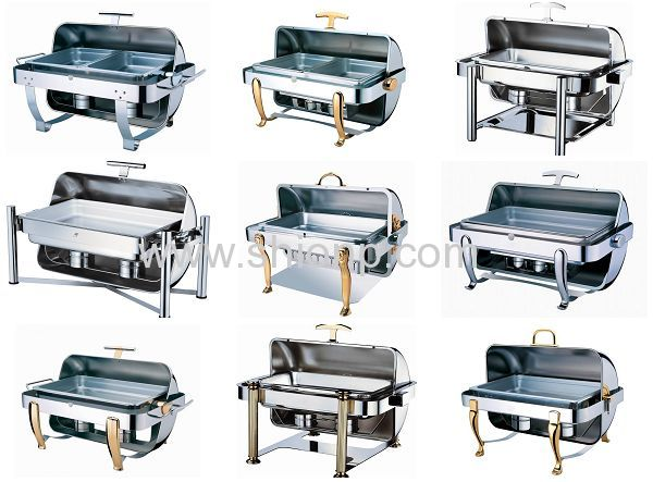 Rectangle roll top chafing dishes with chrome leg