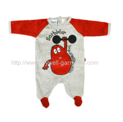 Red and grey Embroidered Caftwork baby romper