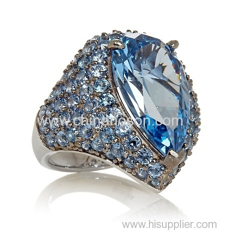Pear-Cut Cocktail Ring with blue crystal stones