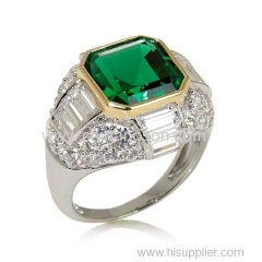 Emerald Two-Tone Copper Ring