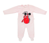 Red barbibur lifting pattern Baby velour romper