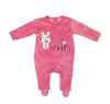 Rose color with sweet bunny pattern baby jumpsuit