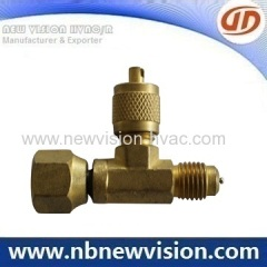 Brass Tee Male Fitting with Female Flare Nut - Charging Valve