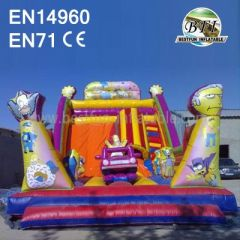 Long Inflatable Sponge Bob Castle Slide Combo