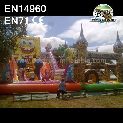 Big Inflatable Spongebob And Dinosaur Slide Castle