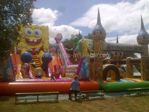Funny Spongebob Slide & Dinosaur Funny Inflatable Castle