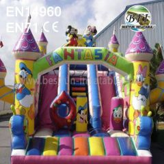 Inflatables Donald Duck Castle With Slides