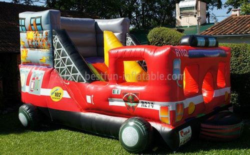 Fire Truck Bounce Slide Inflatable
