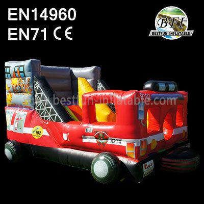 Best Selling Fire Truck Inflatable Slide Game