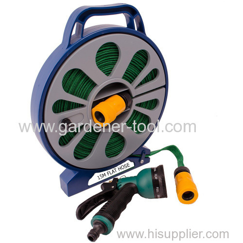 15M Flat Garden Hose With Reel&Nozzle&connector