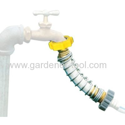 Kink free garden hose connector with steel coil spring