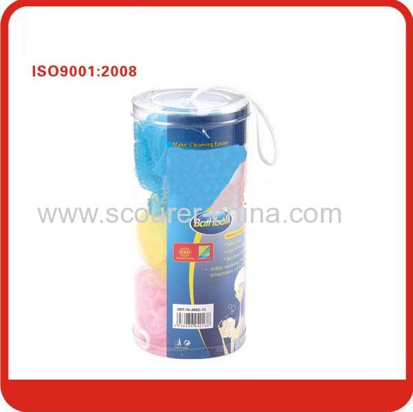 Yellow/ blue/ pink Nylon Bath Ball,Mesh Sponge,Bath Scrubber Ball type