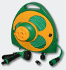Flat garden hose pipe reel with nozzle