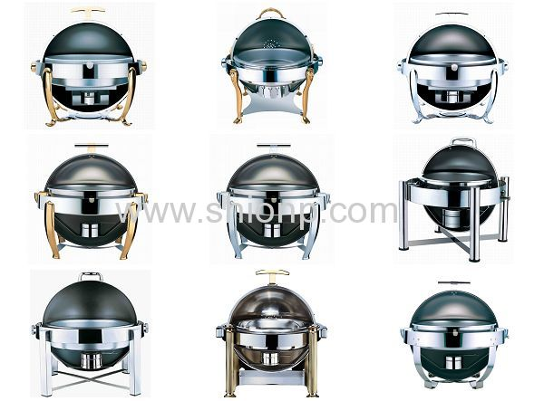 Round chafing dish with chrome legs