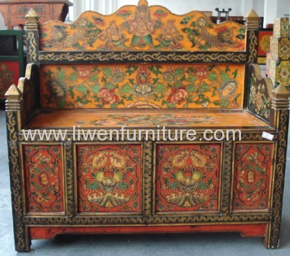 Antique Tibet painting bench