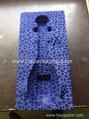 Plastic flocking blister packaging tray for bottled cosmetic/wine