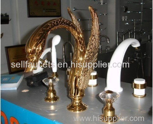 PVD GOLD finish 3 PIECE ROMAN TUB (Or sink) SWAN FAUCET BATHROOM ...
