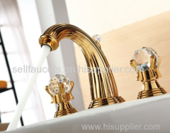 Free shipping PVD GOLD WIDESPREAD LAVATORY BATHROOM SINK FAUCET crystal handles knobs faucet