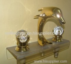 Chrome Widespread Lavatory Bathroom Sink Dolphin Faucet Crystal Handles Dolphin Sink Faucet