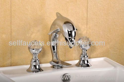 Chrome Widespread Lavatory Bathroom Sink Dolphin Faucet Crystal Handles Dolphin Sink Faucet Manufacturer From China Sinda Sanitary Ware Co Ltd