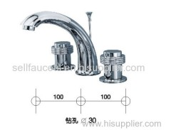Chrome clour waterfall basin faucet 8 inch widespread lavtory sink faucet 3 holes tap