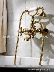 TI-pvd gold clour shower and bath faucet clawfoot faucet telephone faucet