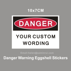 danger warning egg shell sticker