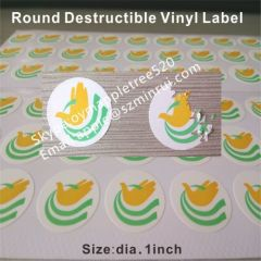 Round Yellow and Green Priting Eggshell Stickers on Sheets
