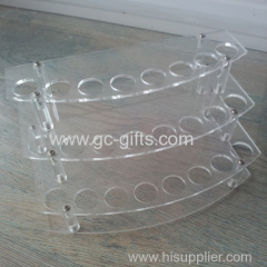 New coming arc progression of transparent acrylic display rack