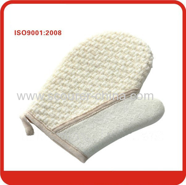 Bearing high temperature exfoliating bath Sponge gloves with scrubber