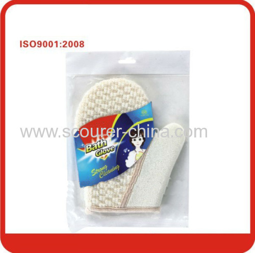 Natural soybean fibre exfoliating bath white gloves with scrubber