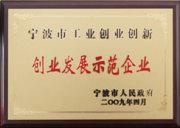 Certificate of Exemplary Enterprises in pioneering and Developing of Ningbo