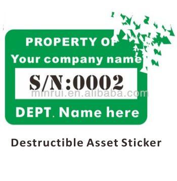 Tamper Evident Security Asset Label Sticker For Tracking