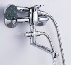 Single bath shower faucet mixer with diverter