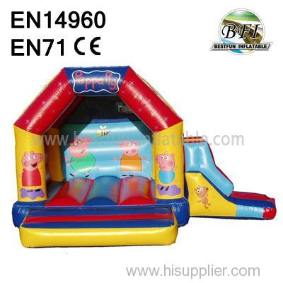 Popular Peppa Pigs Inflatable hut with Slide for kids