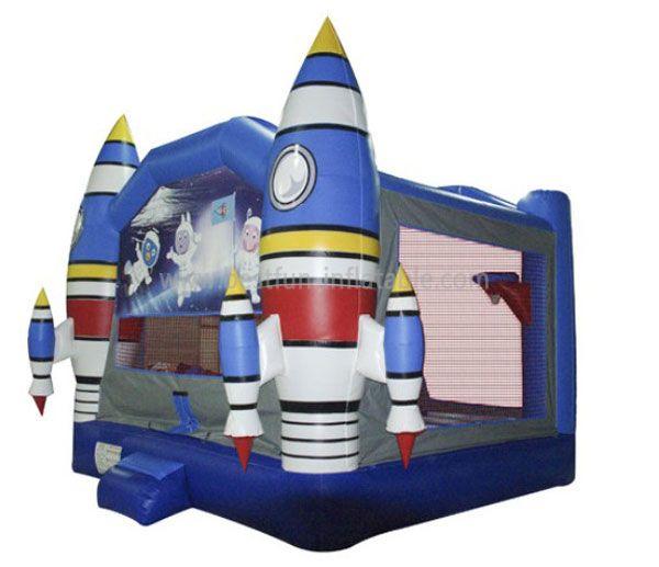 Blue Inflatable Theme Rockets Castle
