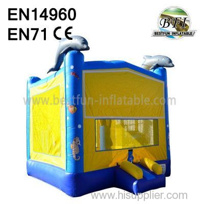 Yellow Inflatable Dolphin Jumping House For Kids