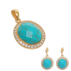 Turquoise Stone Gold Tone CZ Jewelry Set
