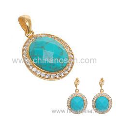 CZ Jewelry set with Turquoise Stone