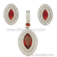 Ruby jewelry sets with CZ stones