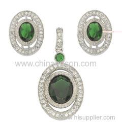 Jewelry set with emerald cz stones