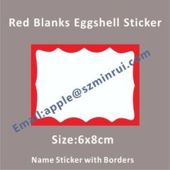 Strong Eggshell Vinyl Sticker Red Border