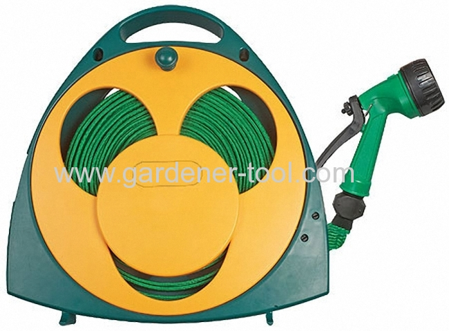 50FT Garden Flat Hose With Reel For Irrigation and clear.